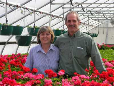 Owners, Jeff Marstaller and Marianne Marstaller of Cozy Acres Greenhouse