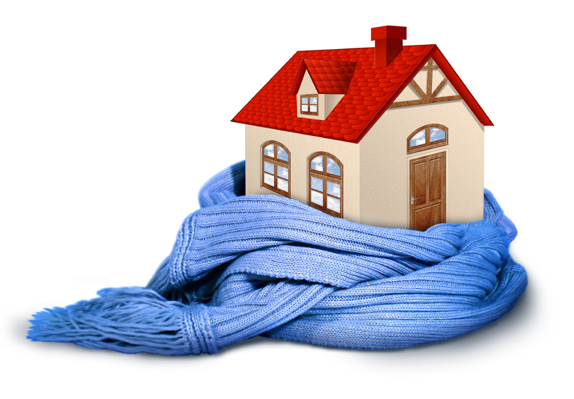 Graphic of home wrapped in a blanket