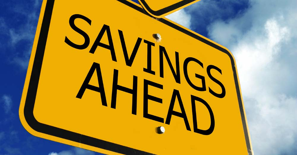 Road sign that says Savings ahead